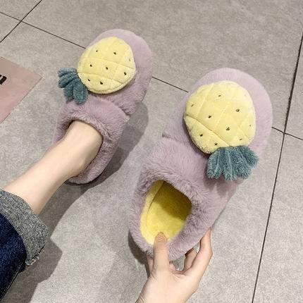冬季棉拖鞋女可爱卡通情侣厚底居家室内保暖月子鞋毛绒拖鞋冬天男
