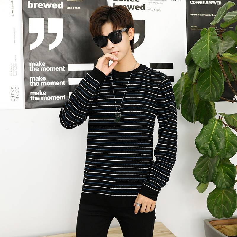 假两件毛衣男韩版潮流衬衫领品牌男装秋冬打底上衣条纹针织衫宽松