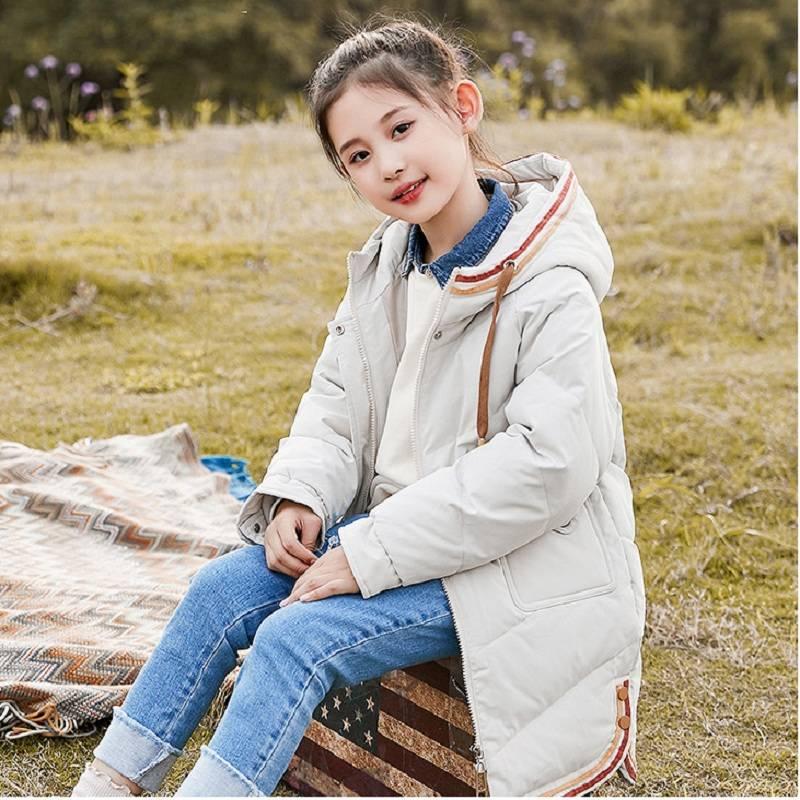 鲁伊卡中大童连帽洋气冬季防风保暖女童装羽绒服儿童中长款韩版