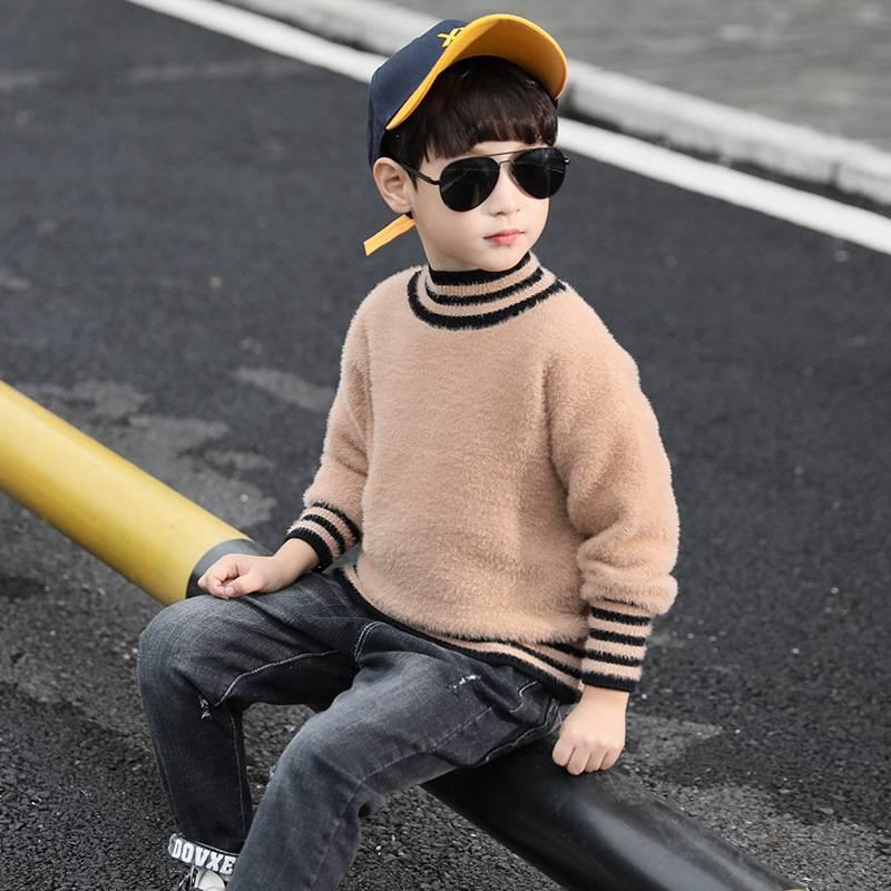 童装男童毛衣套头秋冬款2019新款洋气儿童水貂绒柔感针织衫加厚LJ