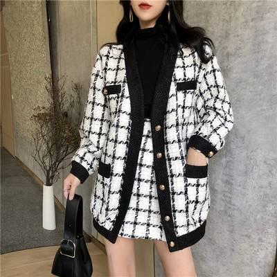 2019秋冬新款韩版黑白格撞色毛呢小香风宽松气质外套女半身裙套装