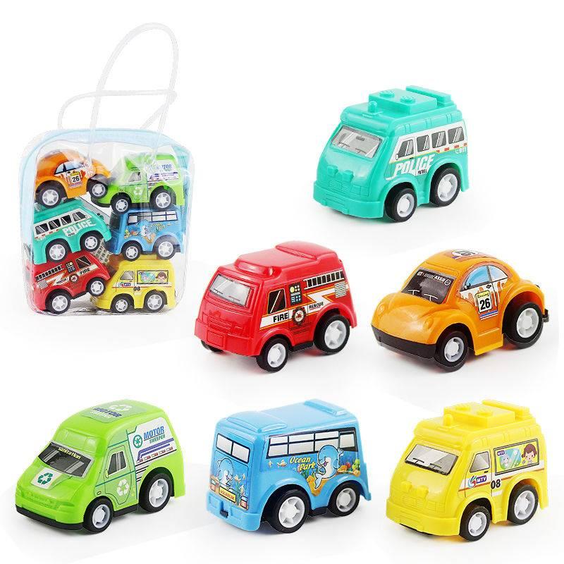 儿童玩具车1袋6辆小车玩具男孩宝宝迷你回力小汽车惯性工程车套装
