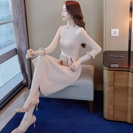 秋装2019年新款打底针织连衣裙女秋冬季内搭收腰中长款毛衣裙过膝