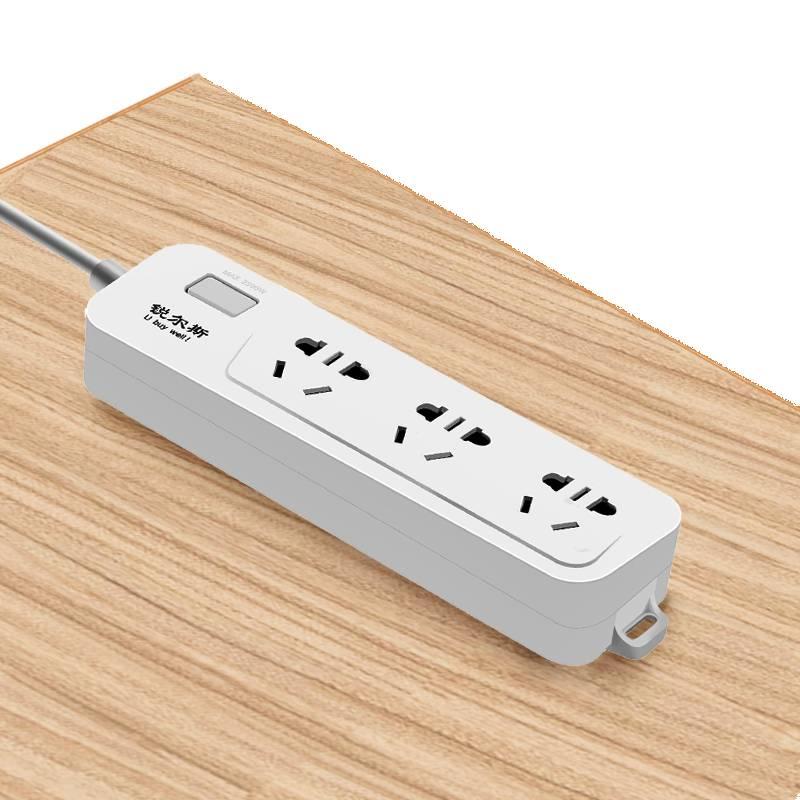 一米带USB插排插板多功能拖接插线板家用多孔插座面板转换器短线