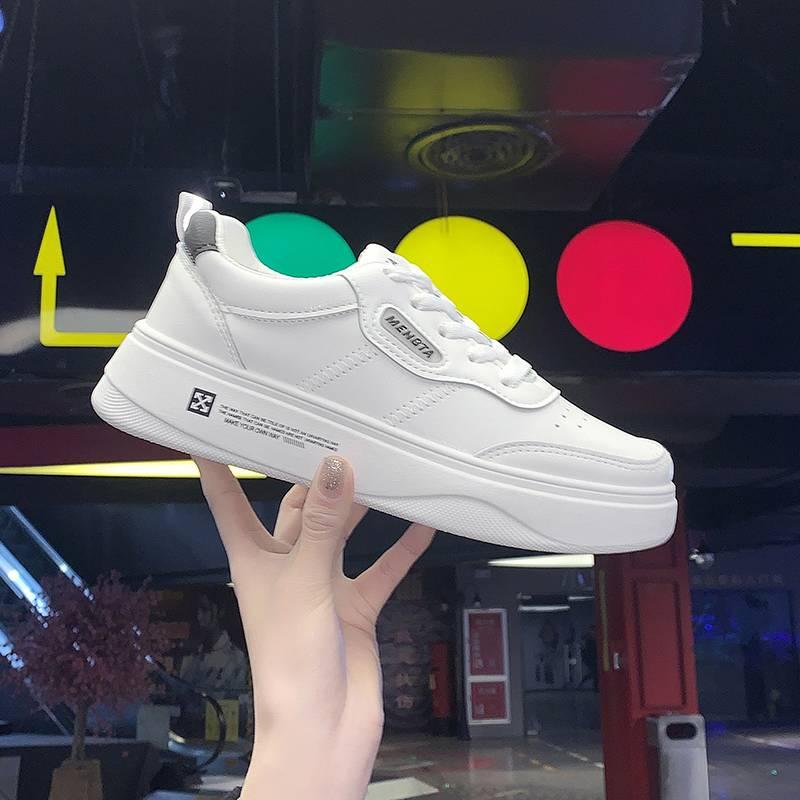 兰茵朵2020春季新款百搭小白鞋女系带透气板鞋女韩版ins平底鞋