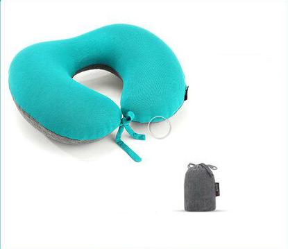 u型枕按压自动充气枕旅行枕颈椎枕护脖u形护颈枕脖子飞机便携靠枕