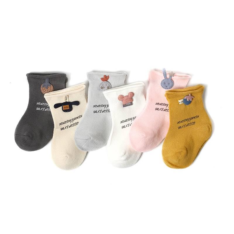 宝宝袜子春秋纯棉男童女童儿童0夏季薄款3月新生婴儿中筒可爱松口