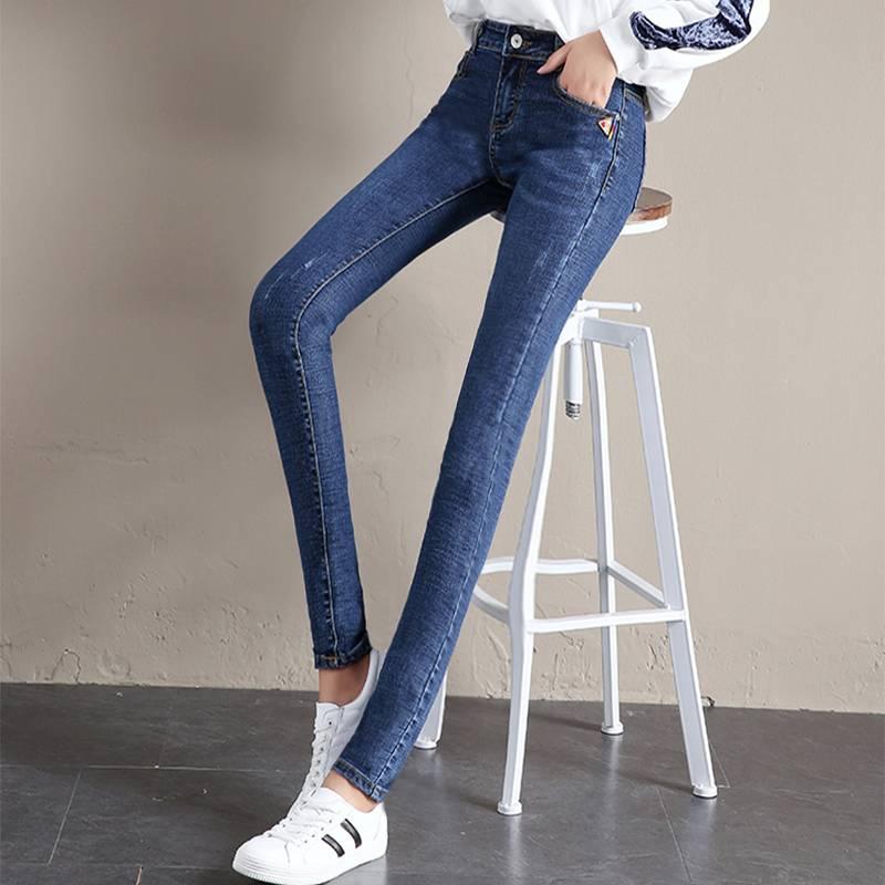 新款韩版高弹高腰加绒牛仔长裤女装小脚长裤修身紧身铅笔九分裤子