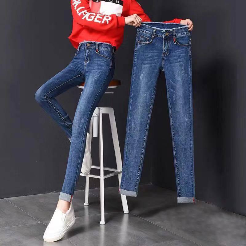 冬季新款韩版高弹加绒高腰牛仔裤女装小脚长裤紧身裤子铅笔长裤子