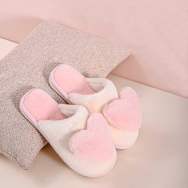 新款布拖鞋冬季可爱心苹果棉女士居家用室内韩版情侣加厚保暖毛绒