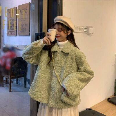2019新款冬季韩版宽松POLO仿羊羔绒毛长袖卫衣女绒服外套潮