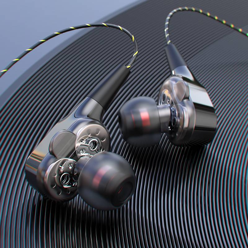 四核双动圈重低音炮耳机入耳式Type-c口手机小米896x通用华为p20p30pro游戏K歌HiFi吃鸡vivo男有线高音质