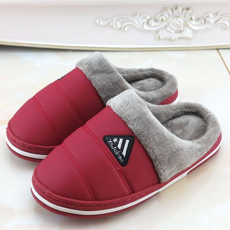 冬季情侣男女包跟棉拖鞋居家防滑皮面防水保暖鞋加厚底中老年棉鞋