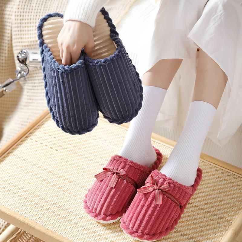 买一送一棉拖鞋女冬季家居家用情侣室内防滑厚底保暖毛拖鞋男冬天