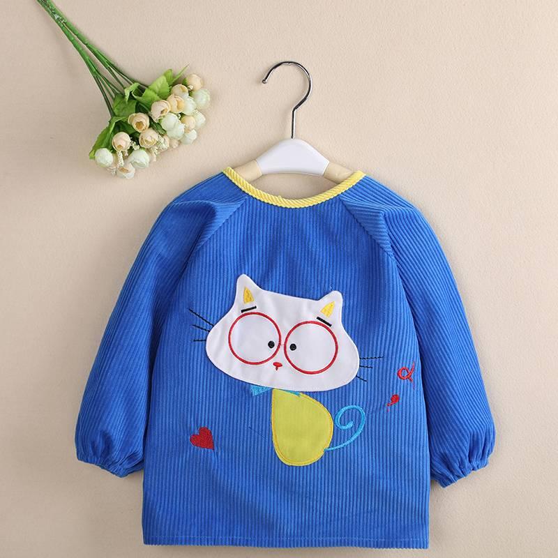 儿童罩衣宝宝反穿衣婴儿吃饭衣小孩护衣围兜男童围裙秋冬长袖