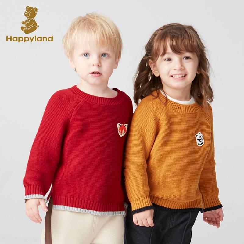 Happyland童装儿童毛衣2019冬新款男女童宝宝时尚撞色套头上衣