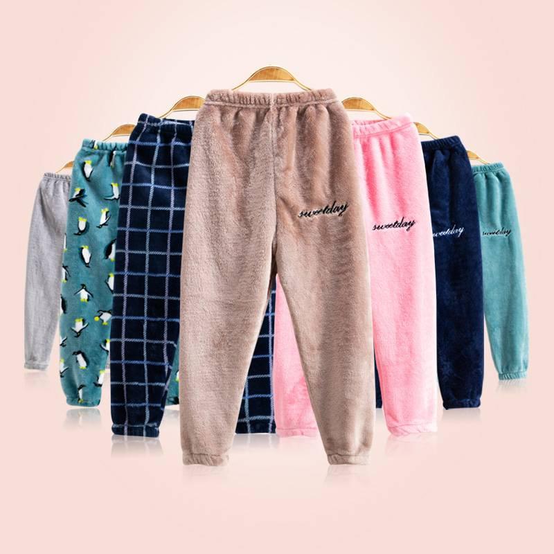 儿童暖暖裤加绒女童法兰绒打底裤男童外穿加厚冬宝宝睡裤保暖裤子