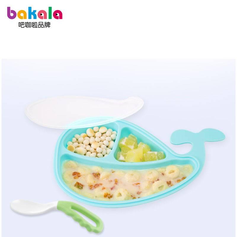 宝宝餐盘学吃饭弯头勺子训练辅食套装新生婴儿童叉子感温勺叉分格
