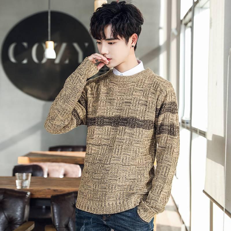 男针织衫中长款青少年披风大码开衫毛衣服外套学生潮流秋冬季外穿
