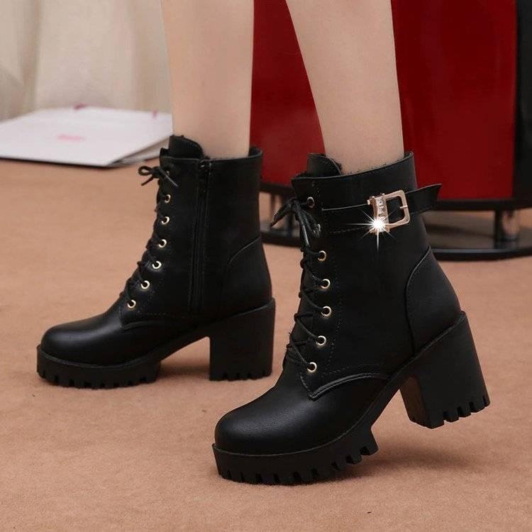 纪轩2019秋冬女士厚底粗跟皮靴防水台高跟女士马丁靴侧拉链女靴子