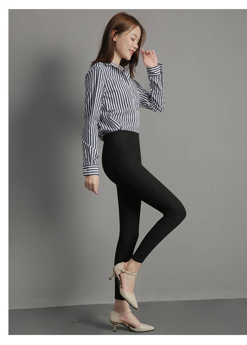 黑色魔术保暖打底裤女秋冬显瘦高腰外穿加绒加厚弹力松紧小脚长裤