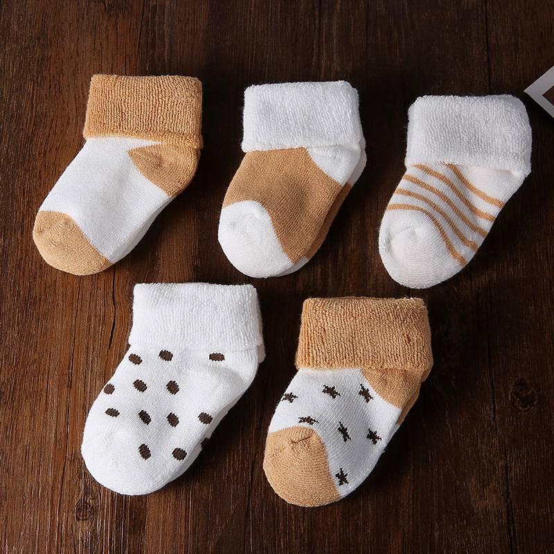 婴儿袜子春秋冬季加厚0-3-6-12个月初生宝宝新生幼儿纯棉袜1-3岁