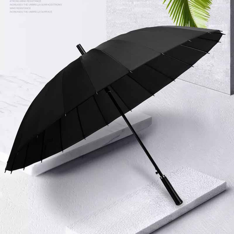 24骨长柄大号加固超大雨伞男女双人晴雨两用直柄抗风男士黑色雨伞