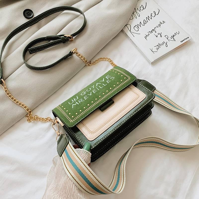 celikoel2019新款包包女包时尚韩版潮百搭斜挎小包宽带链条单肩包