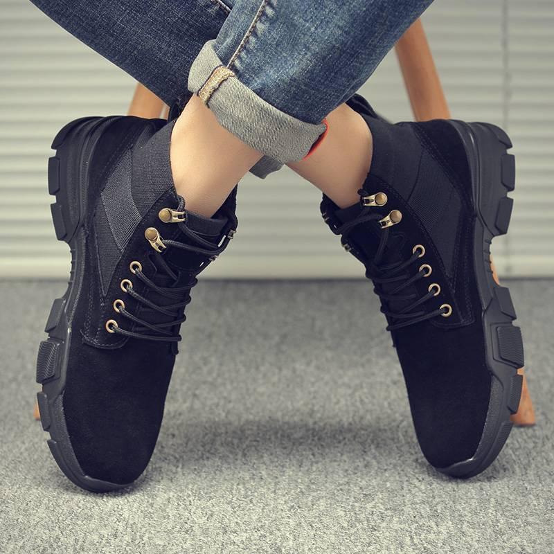 马丁靴男秋季透气英伦风高帮鞋子中帮男靴潮鞋工装皮靴军靴马丁鞋