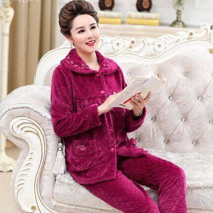 秋冬季中老年珊瑚绒睡衣女加厚加绒保暖长袖法兰绒家居服妈妈套装