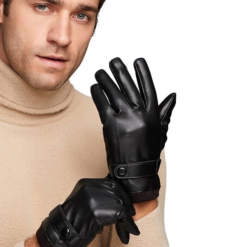真皮手套男士冬天保暖加绒皮手套骑行摩托车触屏开车山羊皮手套