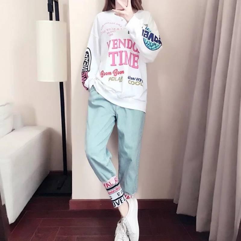 秋季套装女学生2019韩版宽松显瘦女装新款上衣长裤休闲运动两件套