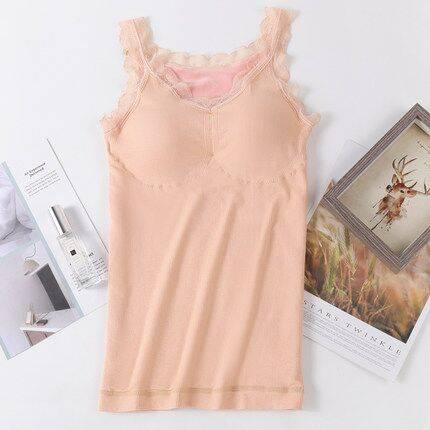 保暖吊带背心小熊仙女V领带胸垫加绒加厚性感蕾丝大码修身内衣女
