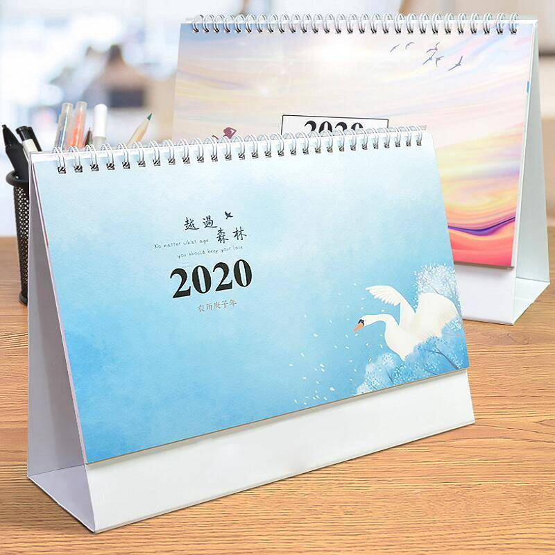 台历2019年创意简约小清新桌面摆件月历台历ins风定制工作小日历定做可爱2020办公计划本式记事本订做猪年