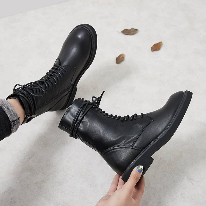 韩都衣舍女鞋ann马丁靴女英伦风2019新款黑色帅气机车酷街头网红