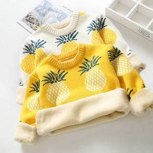 女童毛衣2019新款兒童加絨加厚秋冬裝套頭線衣男童寶寶針織打底衫