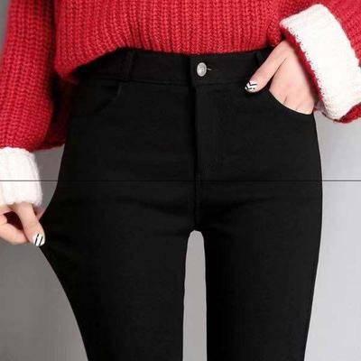 韩版高腰小脚新款打底裤女外穿紧身铅笔裤薄款加绒魔术裤黑色裤子