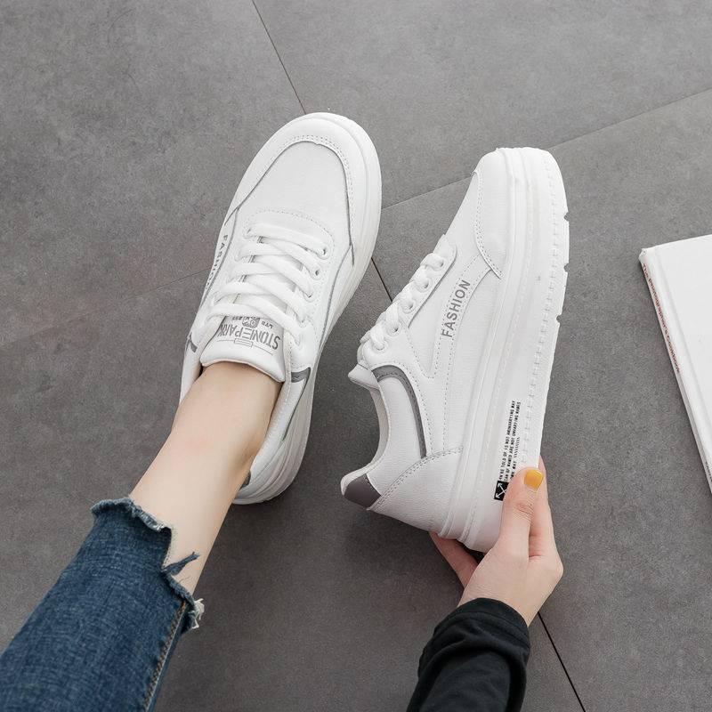 小白鞋女2019秋季新款韩版厚底运动休闲板鞋学生增高跑步鞋单鞋潮
