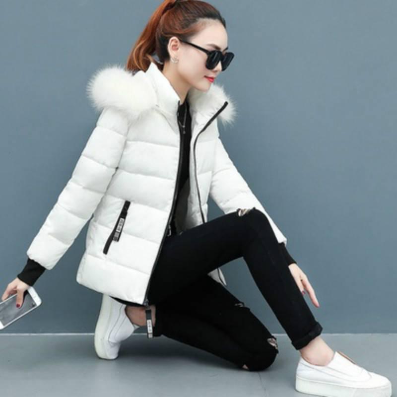可卸帽羽绒棉服女短款冬装外套棉袄修身加厚大毛领大码胖妹妹棉衣