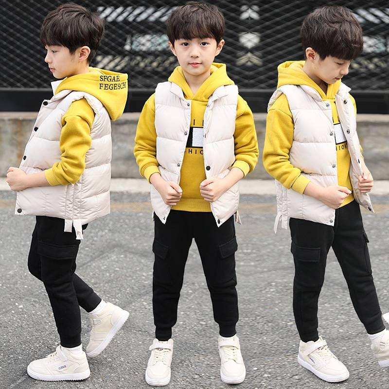 男童套装冬季加绒加厚儿童秋冬装2019新款韩版中大童洋气三件套潮