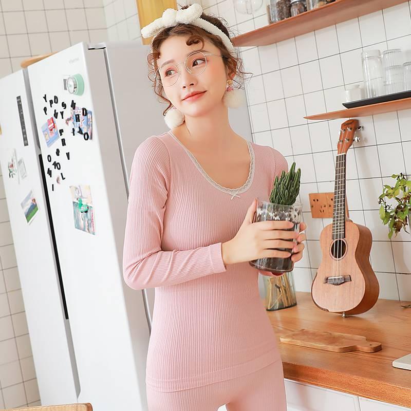 秋衣秋裤女套装紧身少女修身打底圆领棉毛衫学生保暖内衣女薄款冬