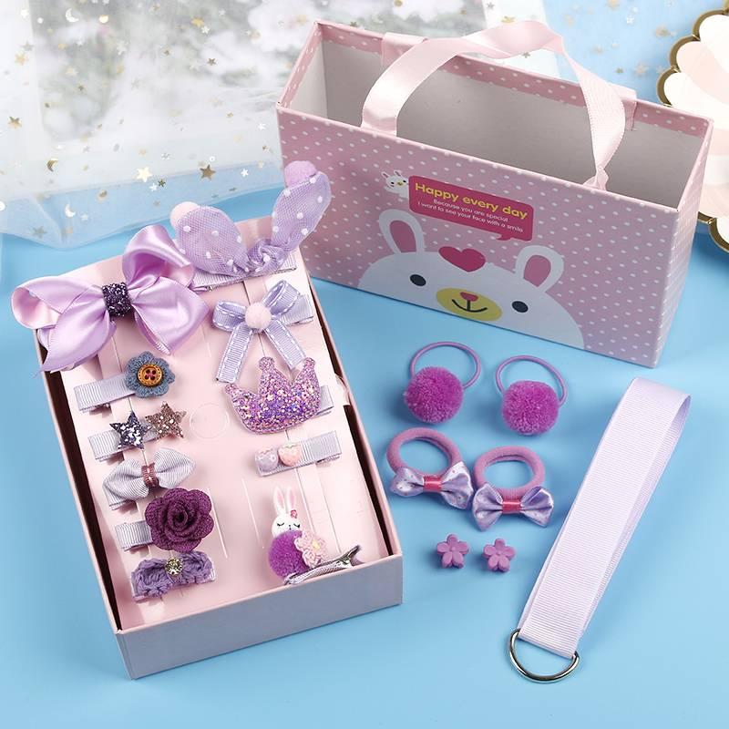 26件套礼盒装韩国小女孩儿童发夹水果发圈宝宝发卡公主头饰品套装