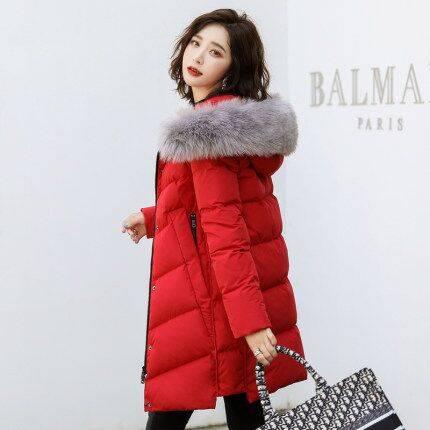 高梵2019新款时尚羽绒服女中长款大毛领韩版修身加厚保暖冬季外套