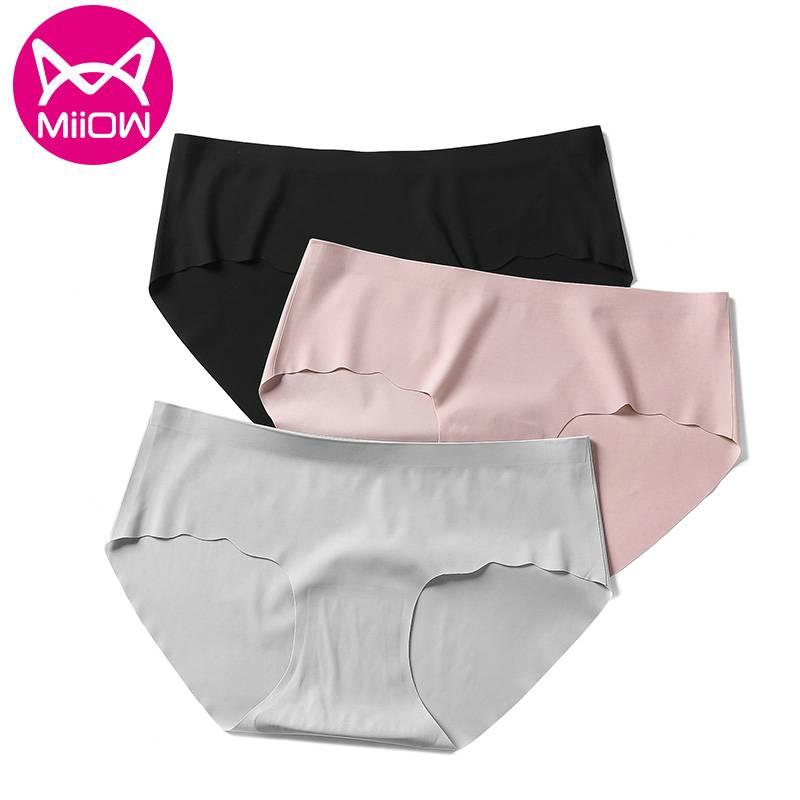 MiiOW猫人猫人内裤女无痕一片式中腰舒适抗菌薄款透气女生三角裤