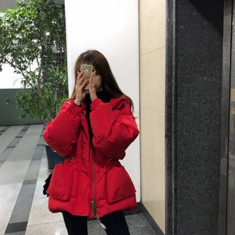 白鸭绒羽绒服女短款红色新款网红韩版时尚收腰显瘦冬季小个子外套
