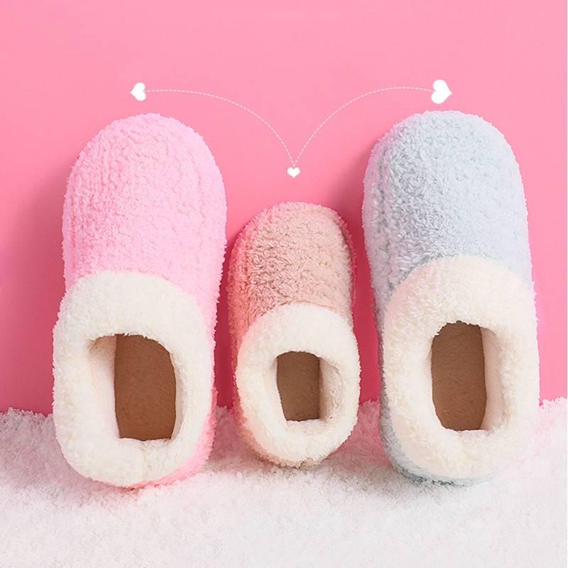 旺家小q 儿童棉鞋宝宝冬季室内地板家居鞋女童加绒毛毛鞋一家亲子
