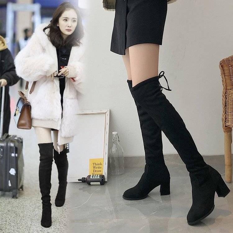 过膝长靴女高跟长筒粗跟瘦腿高筒单靴子春秋冬季2019新款