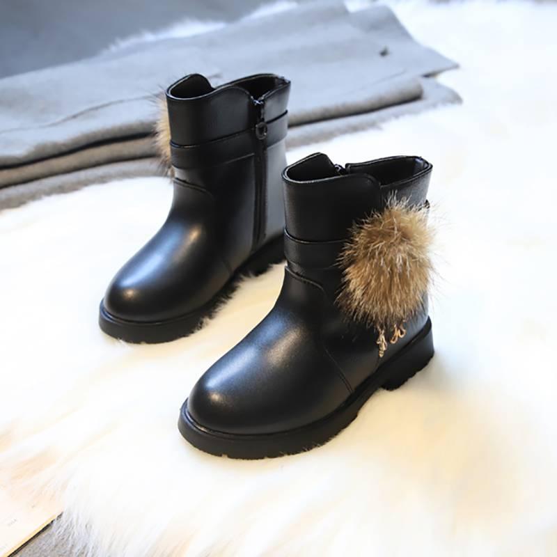 女童靴子冬2019新款秋冬季中筒靴三岁公主加绒女童鞋棉鞋儿童短靴