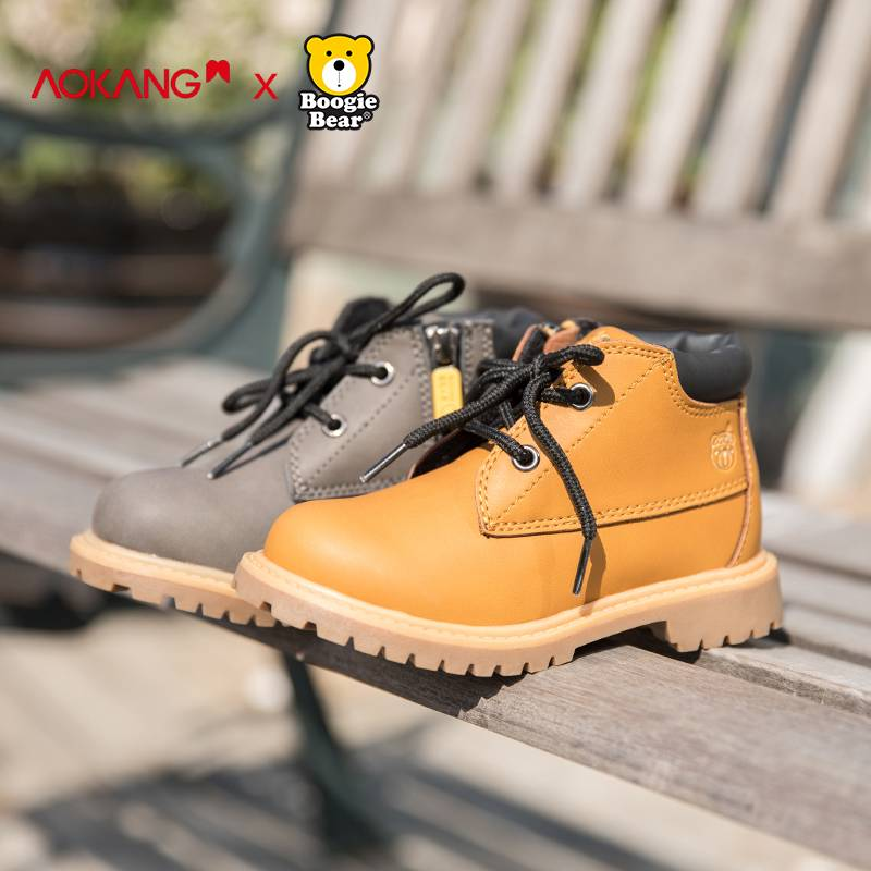 奥康童鞋男童马丁靴冬季加绒韩国小黄靴儿童靴子小童短靴女童棉鞋