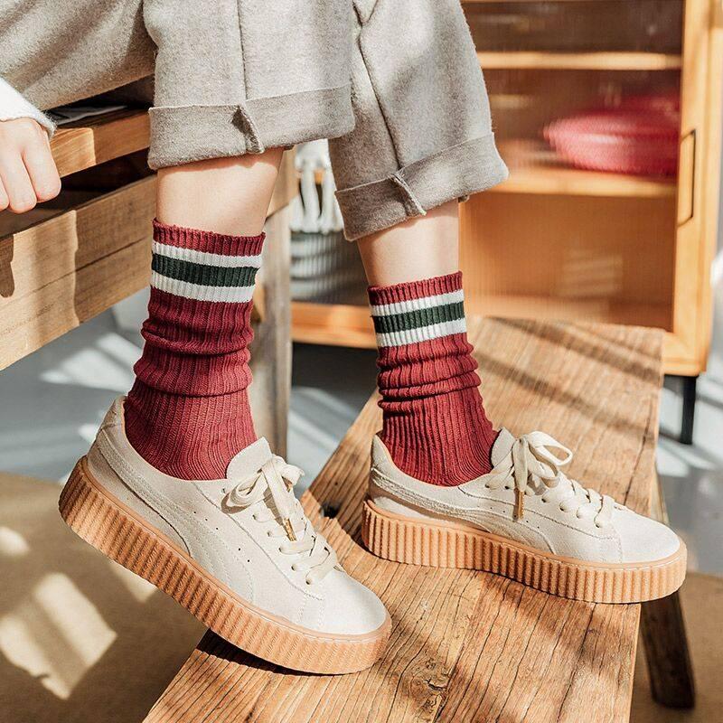 堆堆袜女秋冬韩国袜子女中筒棉袜韩版学院风条纹长筒袜日系ins潮